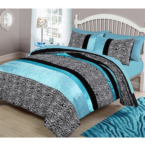 Your Zone Teal Animal Bedding Comforter Set Walmart Com Teal Bedding For