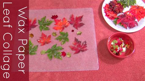 wax paper leaf collage craft for preschool and