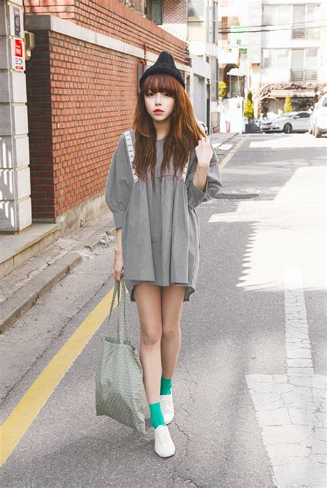 dress grey asian ulzzang grey dress korean