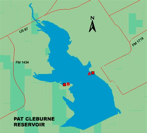 texas bank fishing map access to pat cleburne lake
