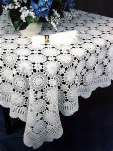 Square Tablecloth On Round Table Snowflake Handmade Crochet Lace Tablecloth Also In Oval