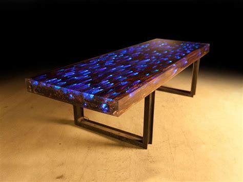 sunbeam led desk l 10 ft l dining desk driftwood resin embedded led