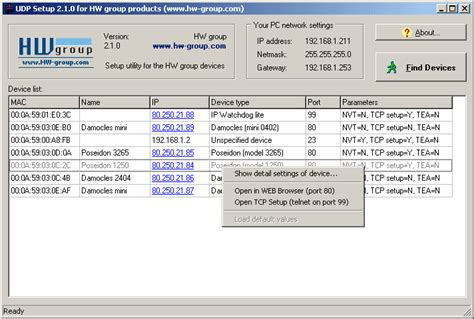 Mac Address Lookup From Ip Hwg Config Udp Config Hw