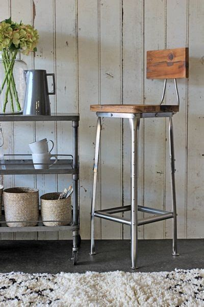 Industrial Kitchen Stools by Metal Bar Stool With Wooden Seat