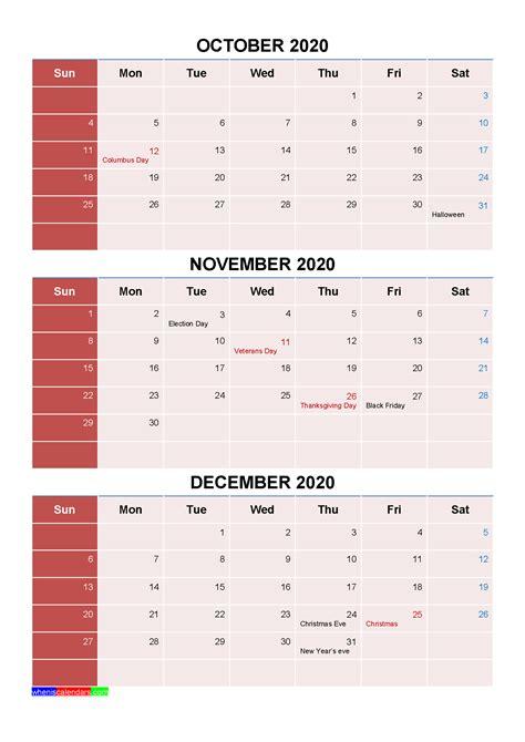 printable october november december  calendar