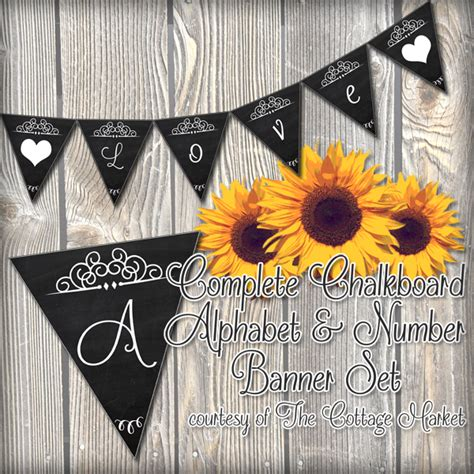 free printable chalkboard banner numbers free printable complete alphabet and number cottage banner
