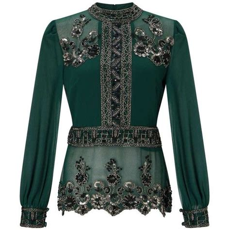 Blouse Premium 32 miss selfridge premium green grace embellished blouse 95 liked on polyvore featuring tops