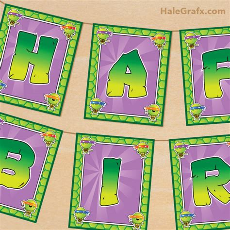 Free Printable Turtle Birthday Banner free printable tmnt turtle birthday banner