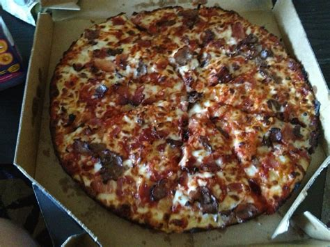 Dominos Handmade Pizza - handmade pan pizza with bacon and philly steak where