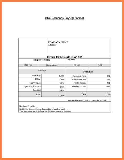 editable payslip template printable