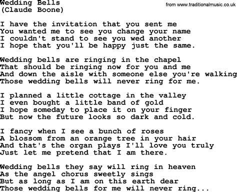 Hank Williams Song Wedding Bells Lyrics House Wedding Bell Lyrics