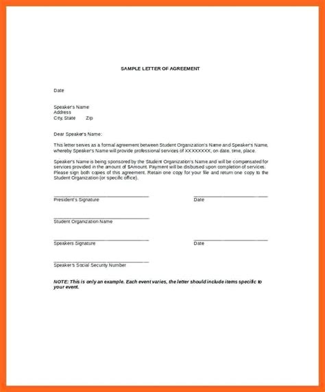 Financial Agreement Letter Template agreement letter citybirds club