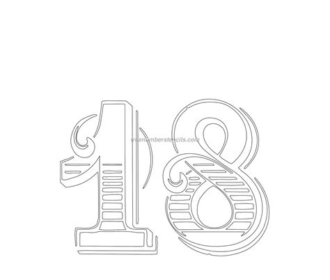 number 18 template free decorative 18 number stencil freenumberstencils