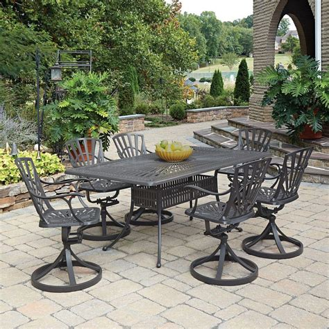 Patio Dining Sets For 4 Home Styles Largo Taupe 7 All Weather Patio Dining Set 5561 375 The Home Depot