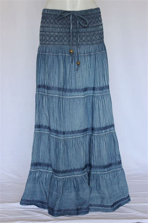 crinkled tiered layers jean skirt 1