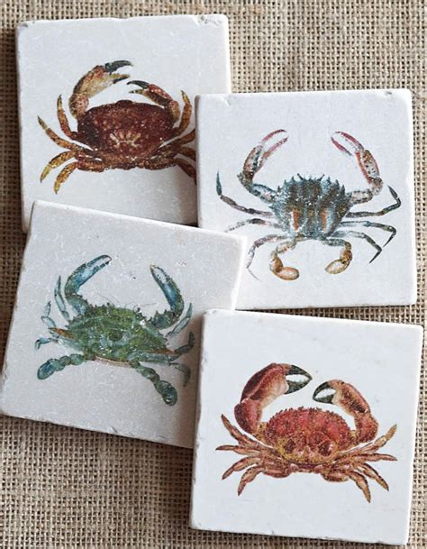 crab coasters crabs house decor sea