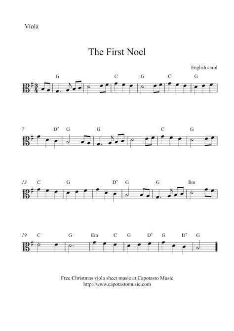 free printable sheet music viola free easy christmas viola sheet music the first noel