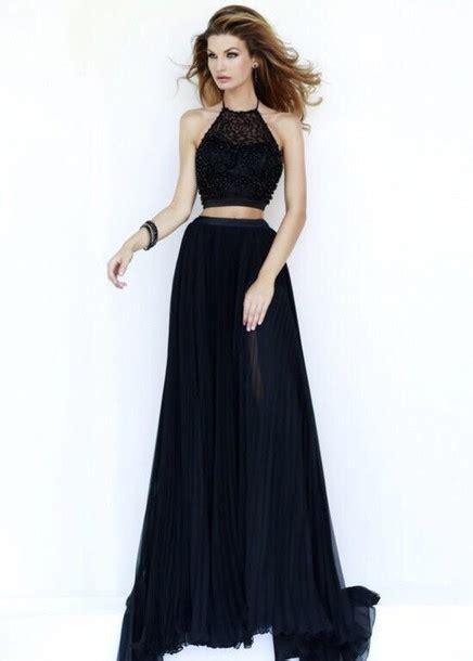 Brocade Cape Longdress dress black blue prom beautiful high neck lace