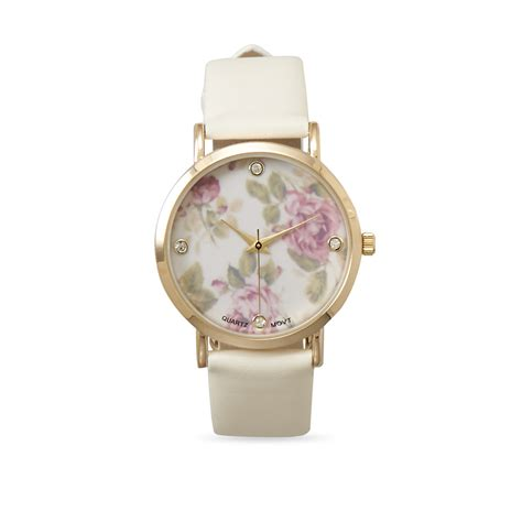 flower design watches ivory leather fashion watch with floral design
