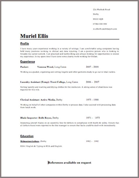 Cv Template Uk 15 Year Cv Template 187 Professional Cover Letter