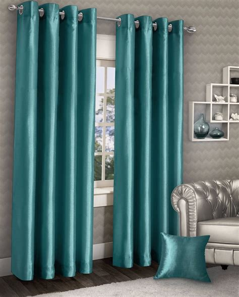 Teal Curtains Stylish Ring Top Eyelet Lined Curtains Plain Faux Silk