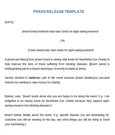 event press release template word sle press release templates 8 free documents