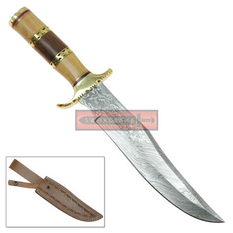 modern knife wild stag long clip point damascus steel modern bowie knife