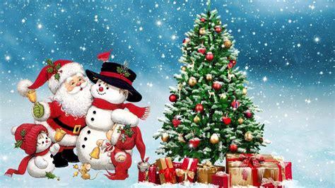 merry christmas santa snowman winter christmas tree