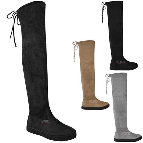 flat heel thigh high boots womens the knee flat thigh high boots low heel