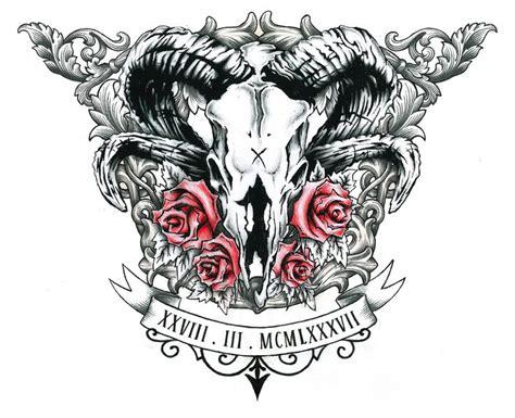 ram skull chest tattoo pen amp pencil design