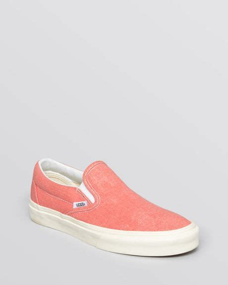 vans flat shoes vans slip on flat sneakers canvas classic in coral