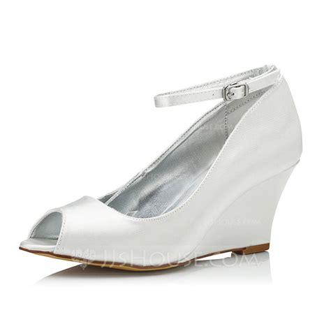 s satin wedge heel peep toe dyeable shoes 047090905