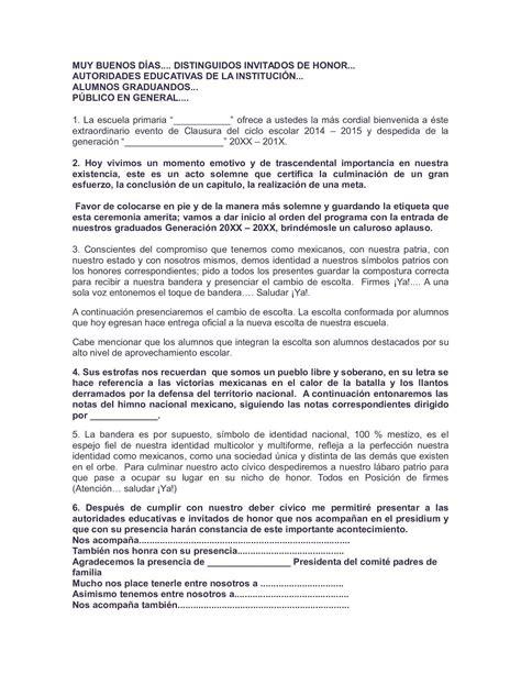 palabras de bienvenida a autoridades calam 233 o ejemplo programa clausura roy 1