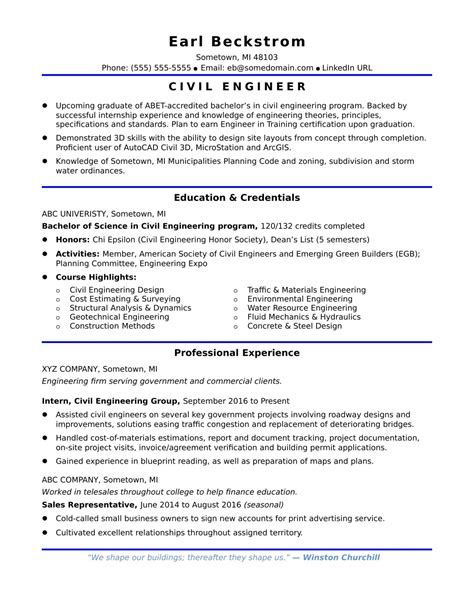 resume sle for civil engineer fresher study engineering