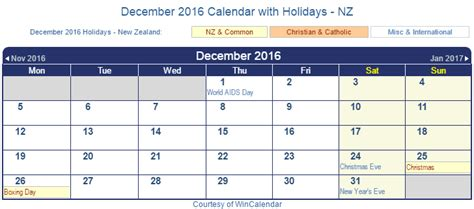 printable calendar new zealand 2016 print friendly december 2016 new zealand calendar for printing