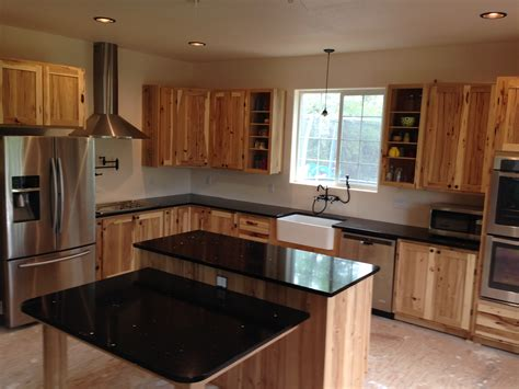 black stainless farmhouse rustic hickory cabinets farm all stainless