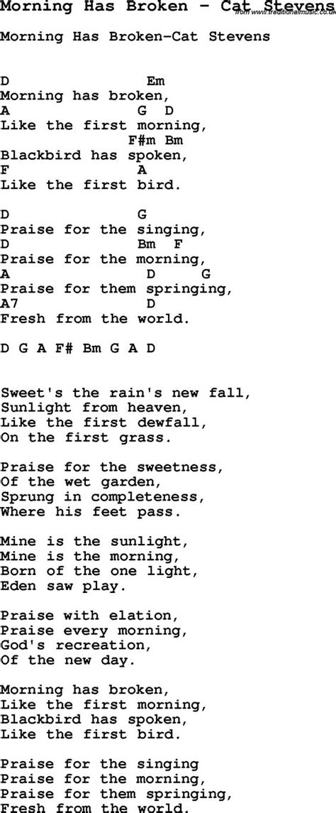 cat song lyrics song morning has broken by cat with lyrics for