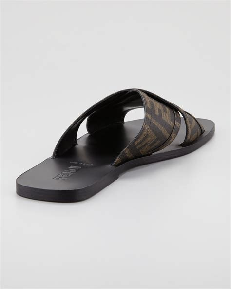 fendi sandals mens fendi logo slide sandal in brown for lyst