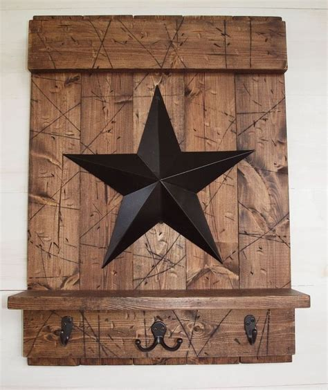 country stars decorations for the home rustic country brown wood shelf w hooks black barn star