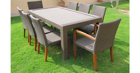 teak and synthetic outdoor dining set warehouse furniture