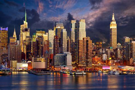 manhattan night in new york city 4k wallpapers images manhattan new york city usa night rivers 4500x3000