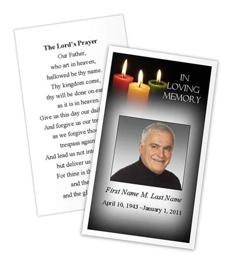 prayer card template glowing memories prayer card template funeral card