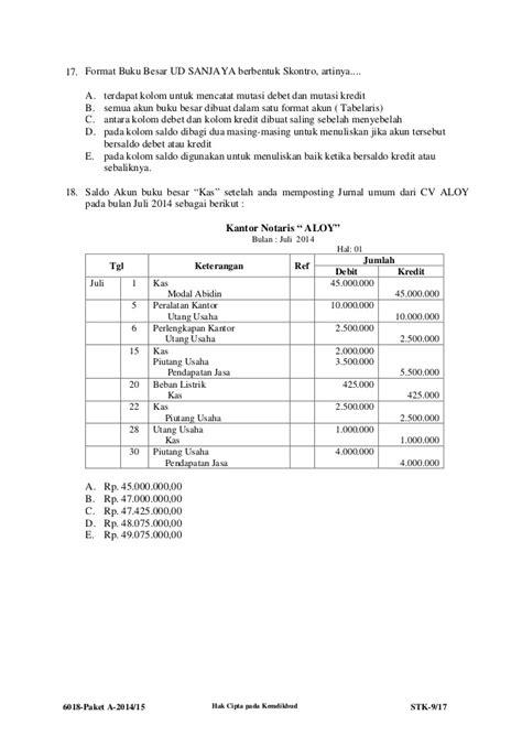 format buku besar skontro 6018 stk paket a akuntansi
