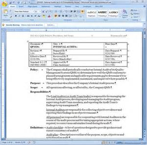 Policy And Procedure Template For Office by Ms Word Policy Procedure