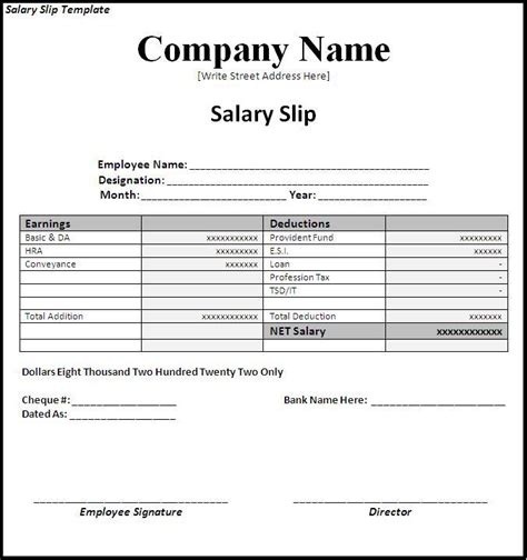 Agreement Letter For Deduction From Salary Useful And Professional Business Salary Slip Template Design Vlashed