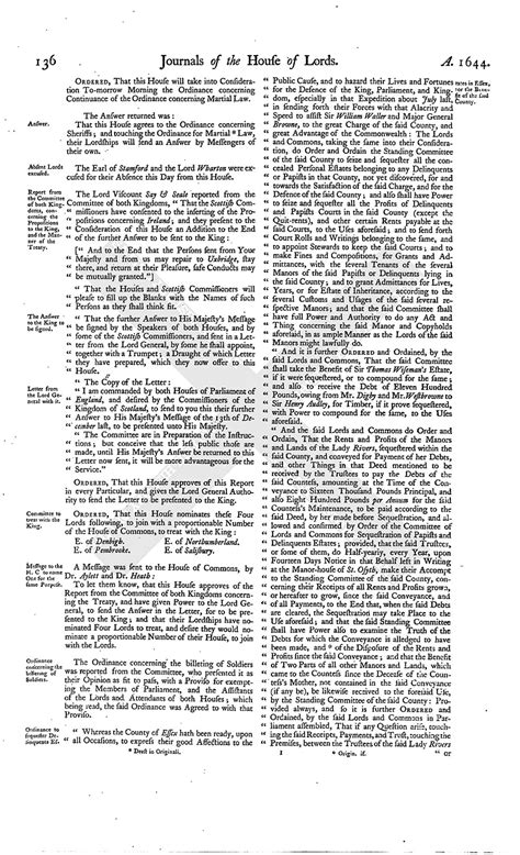 section 179 history house of lords journal volume 7 13 january 1645 british