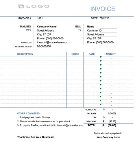 Free Hourly Invoice Template   Excel   PDF   Word (.doc)