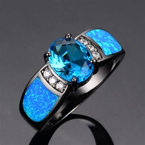 Blue Opal 01 sapphire jewelry wedding blue opal rings 14kt