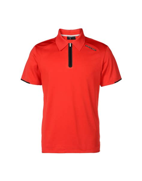 design shirts red porsche design polo shirt in red for men lyst