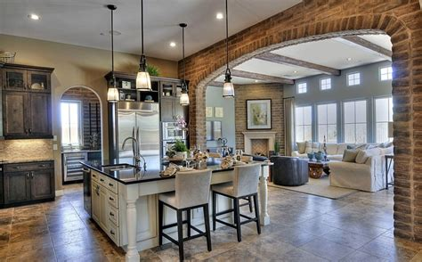 kitchen great room design ideas open concept with beams and brick wall openconcept